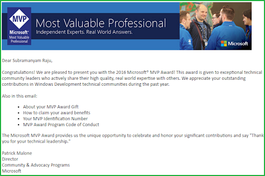 Awarded as Microsoft MVP for the second time - October 2016