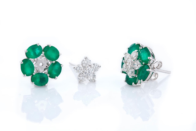 4 Entice emerald & diamond detachable ear studs separate