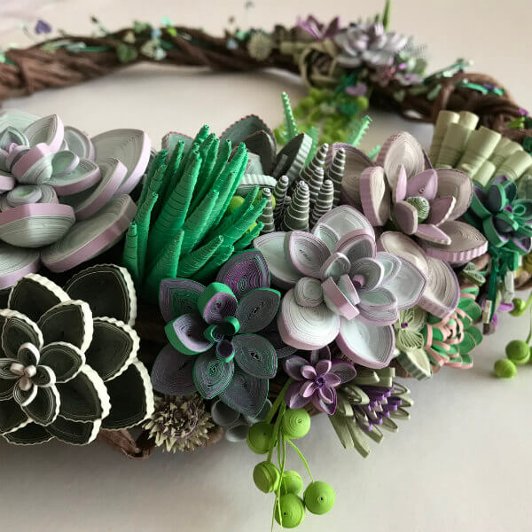 quilled succulent wreath detail