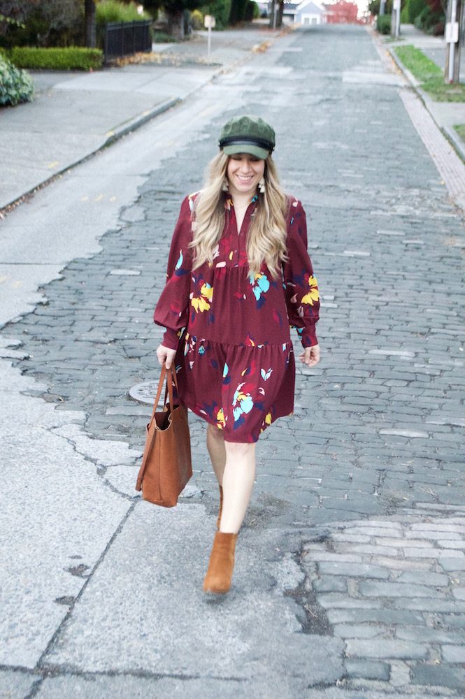Fall Floral Dress & Bakers Cap, madewell tote