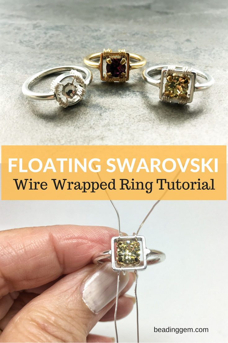 Wire Wrapped Ring Tutorial : Floating wire wrapped swarovski montee ring tutorial the