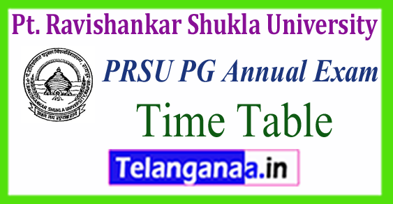 PRSU Pt. Ravishankar Shukla University MA M.Sc M.Com Time Table 2018