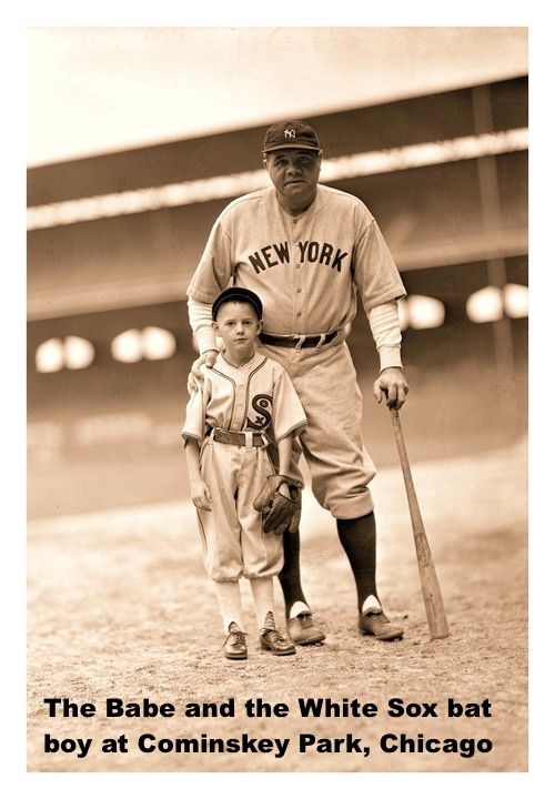 The Babe and White Sox Bat Boy At Cominskey Park In Chicago