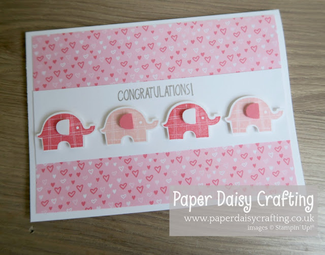 Stampin Up Little Elephant pink baby card