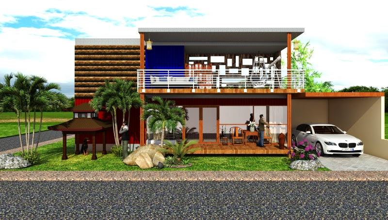 Contoh Desain Eksterior Menggunakan Sketchup dan V-Ray For Sketchup : Container House
