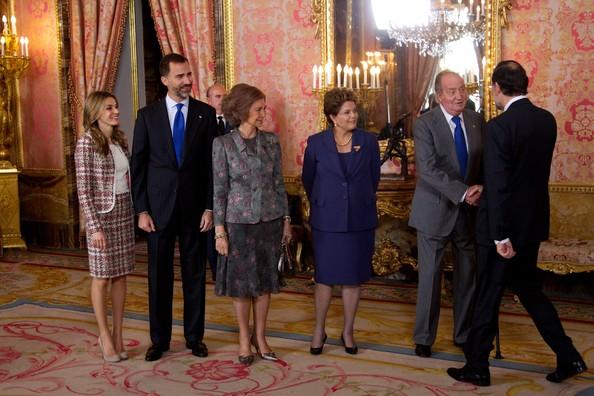 Princess Letizia, Prince Felipe, Queen Sofia, King Juan Carlos of Spain and Brazilian President Dilma Rousseff