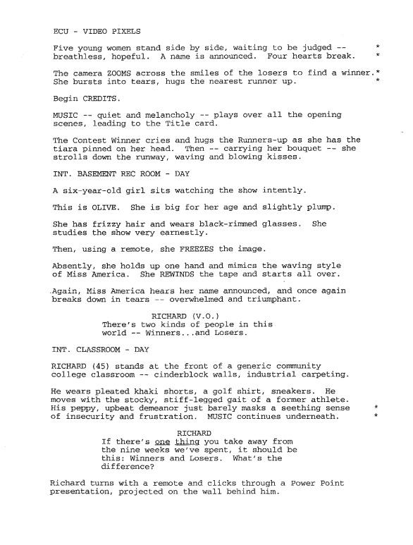film script treatment example