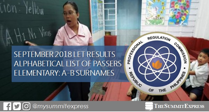 A-B List of Passers: LET Result September 2018 Elementary