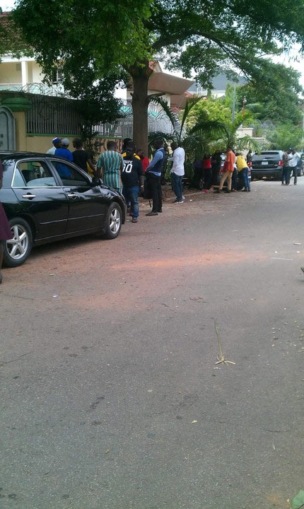 Photos: Abroad-bound Nigerian youths waiting anxiously at Malaysian embassy