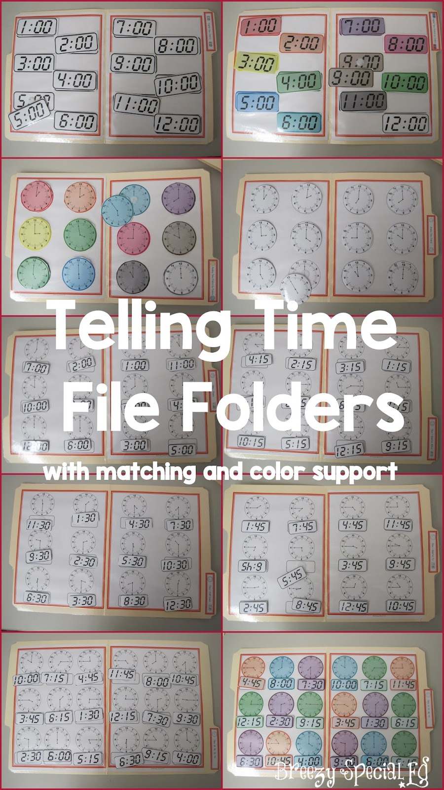 Telling Digital and Analog Time - File Folders - great for Special Education