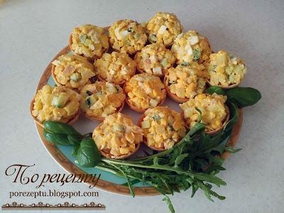 Вкусные кальмары - салат в тарталетках
