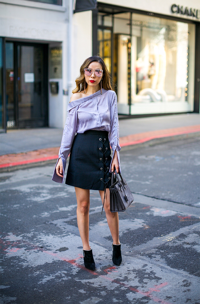 chicwish lilac one shoulder shirt, lace up skirt, white blazer, saint laurent sac de jour bag, quay sunglasses, baublebar earrings, spring outfit ideas, san francisco fashion blog, san francisco street style, casadei ankle booties