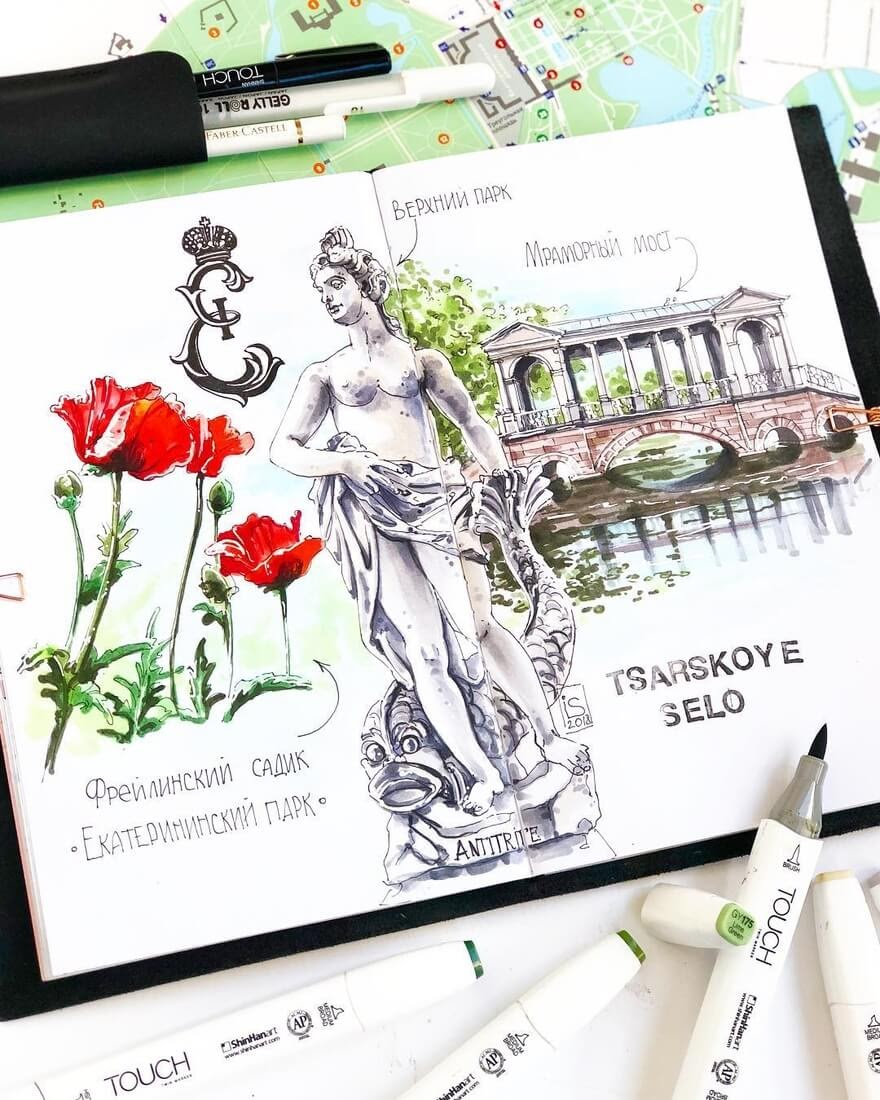 10-Quick-Sketch-on-Location-Irina-Shelmenko-Ирина-Шельменко-Travel-Diary-Sketches-and-Moleskine-Drawings-www-designstack-co