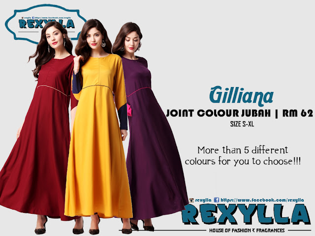 rexylla, joint colour, joint colour jubah, gilliana collection