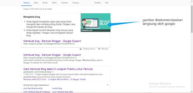 google merekomendasikan gratis blog dengan gambar unik
