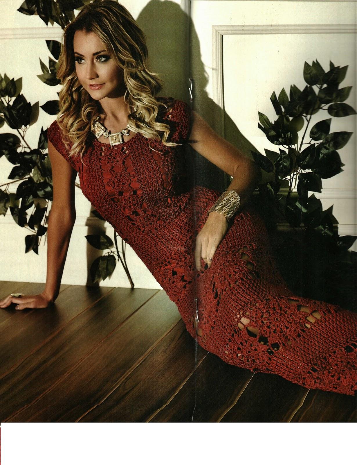Mania De Tricotar Lindo Vestido Longo De Crochê Receita