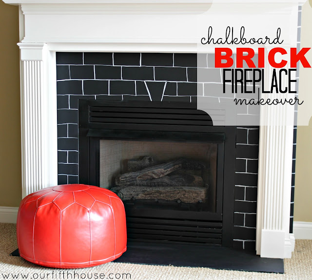 chalkboard brick fireplace makeover