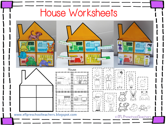 esl efl preschool teachers house worksheets for the preschool ell. Black Bedroom Furniture Sets. Home Design Ideas