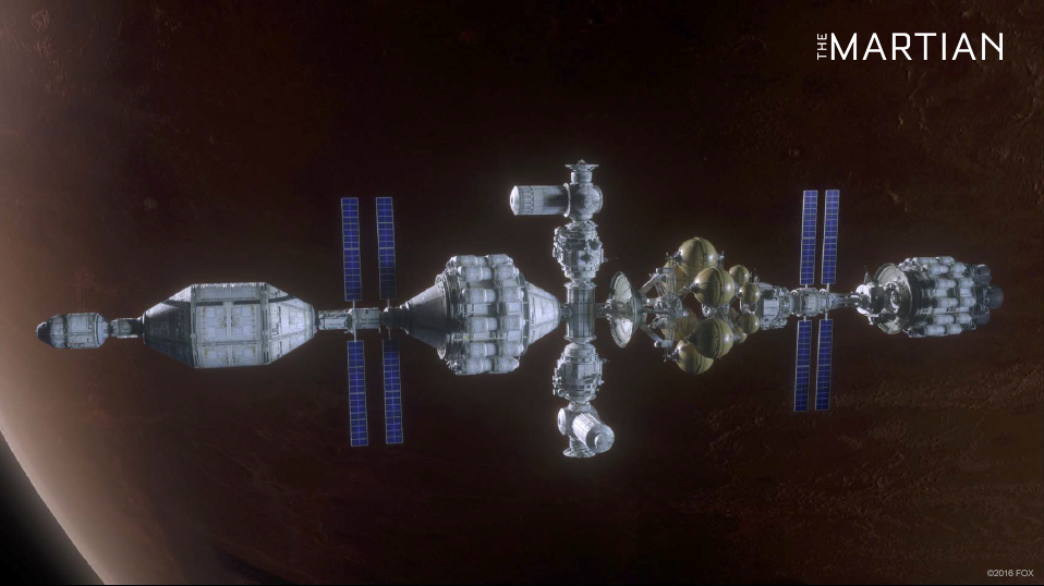 Concept art for The Martian - Hermes in Mars orbit