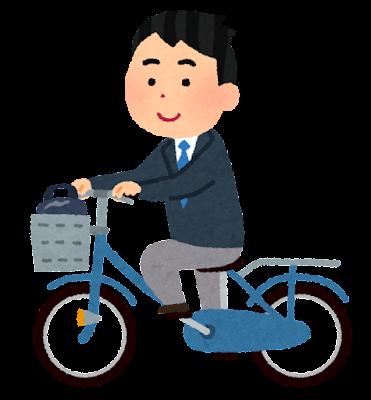 自転車通学のイラスト(ブレザー・男子学生)