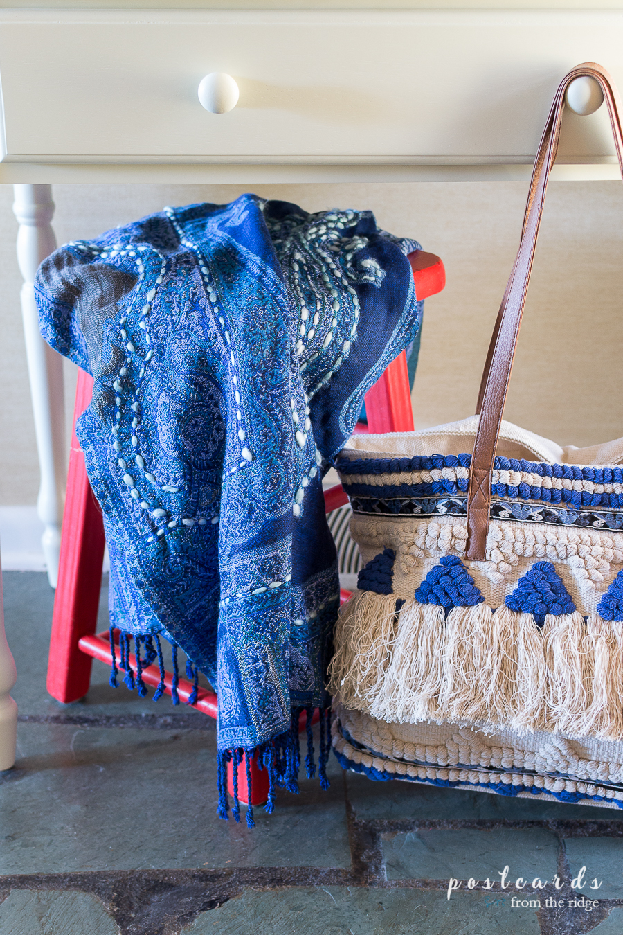 blue paisley scarf and boho fringed tote bag