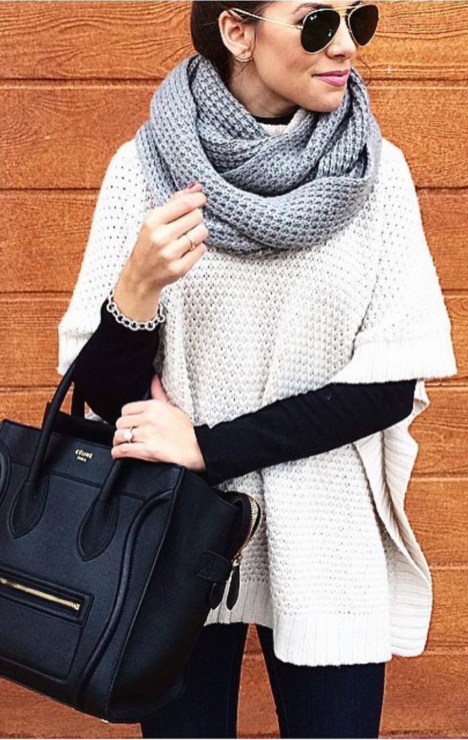 cozy outfit inspiration / knit scarf + white sweater + black bag + jeans