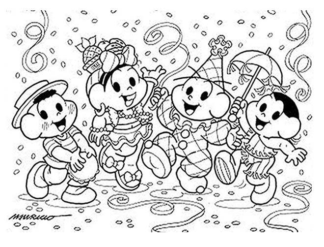 Desenhos Do Carnaval Turma Da Mônica Para Colorir Pintar