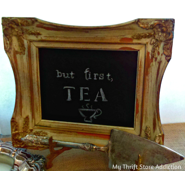 Repurposed vintage frame chalkboard tray