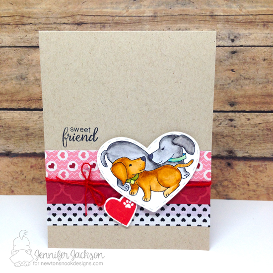 Dog Valentine Card by Jennifer Jackson | Darling Duos Stamp set by Newton's Nook Designs #newtonsnook