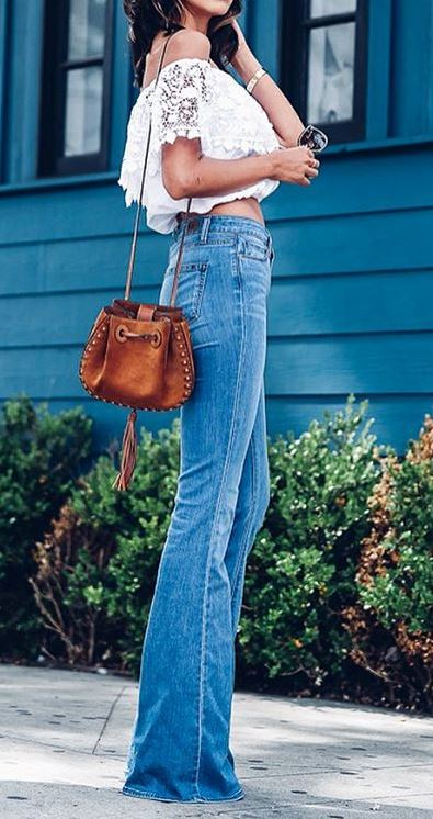 cute boho style outfit idea: top + bag + jeans