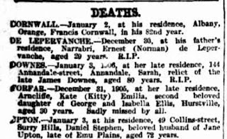 Death Notice Kate Amelia Forfar SMH 4 January 1906