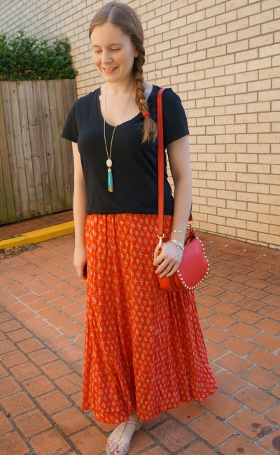 plain black tee, billabong boho printed red maxi skirt, rebecca minkoff sandals saddle bag SAHM Style | awayfromblue
