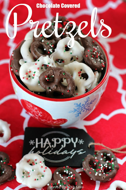 Chocolate Covered Pretzels recipe from Served Up With Love is the perfect mix of salty and sweet and it couldn't be any easier to make.