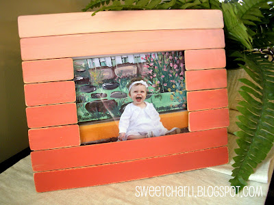This adorable ombre picture frame made from pain sticks is DIY and easy.