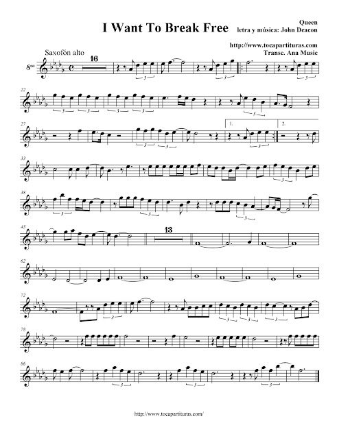 I Want To Break Free - Queen - Partitura Saxofón alto, Barítono y Trompa - Alto Saxophone y Baritone Saxophone, Horn Sheet  music
