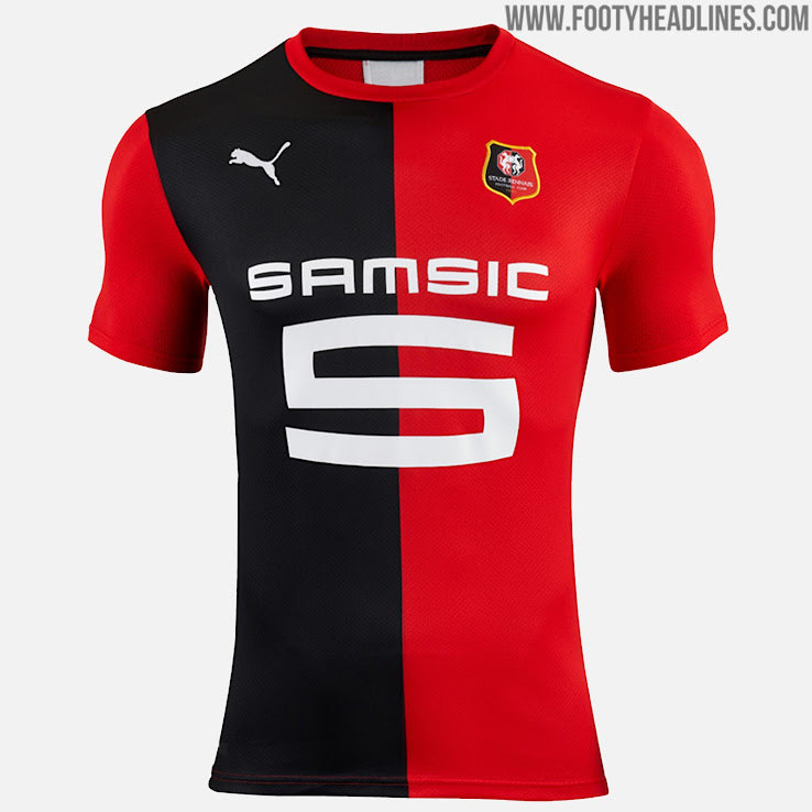 1e41ddcf463 Stade Rennes  2019-20 home jersey is based on the same template as  Mönchengladbach. The front is split between black on the right side and red  on the left ...