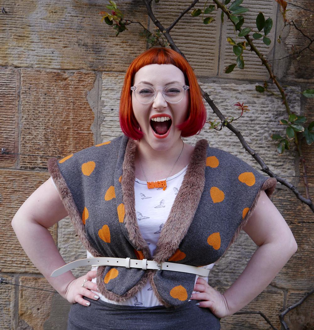 Styled by Helen, Scottish blogger, Scottish fashion blogger, red head, Chouchou, Chouchou Couture, fashion hood, hood scarf, kitty hood, kitty ears, faux fur, love heart print, pops of orange, bonnie bling, ginger, giner necklace, casual day look, casual everyday style, Edinburgh, Stockbridge Edinburgh, Edinburgh blogger, independent designer, #HOODGIRL
