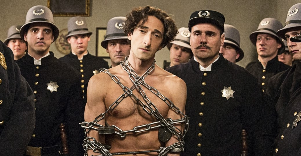 Adrien Brody as Harry Houdini in chains about to do his disappearing act in History Channel TV Mini-Series