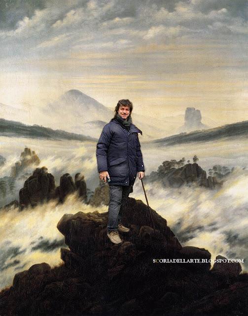 fotomontaggio di Alberto Angela in Viandante sul mare di nebbia-Caspar David Friedrich