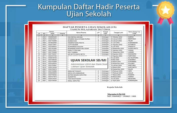 Kumpulan Daftar Hadir Peserta Ujian Sekolah