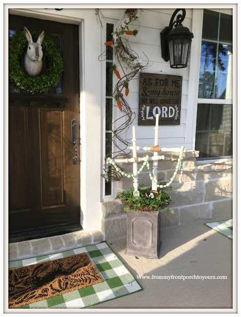 Early Spring Front Porch-Buffalo Check-DIY-Vinateg Spindles-Crosses-Carrot Garland-From My Front Porch To Yours