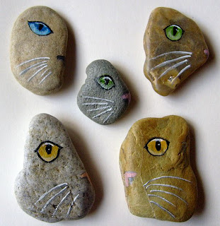 painted rocks, stones, cats, kitties, half, face, eyes
