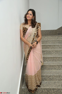 Shilpa Chakravarthy in Lovely Designer Pink Saree with Cat Print Pallu 011.JPG