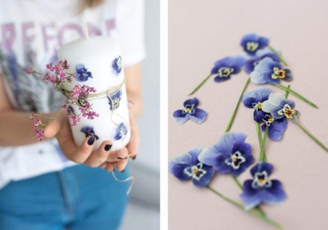 Diy Velas estampada con flores naturales
