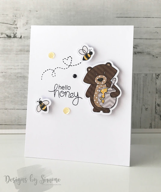 Hello Honey Bear Card by June Guest Designer Simone Naoum | Winston's Honeybees stamp set by Newton's Nook Designs #newtonsnook