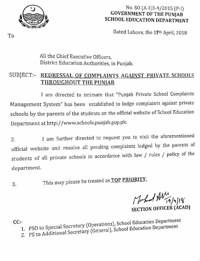 REDRESSAL OF COMPLAINTS AGAINST PRIVATE SCHOOLS THROUGHOUT THE PUNJAB VIA PUNJAB PRIVATE SCHOOL COMPLAINTS MANAGEMENT SYSTEM
