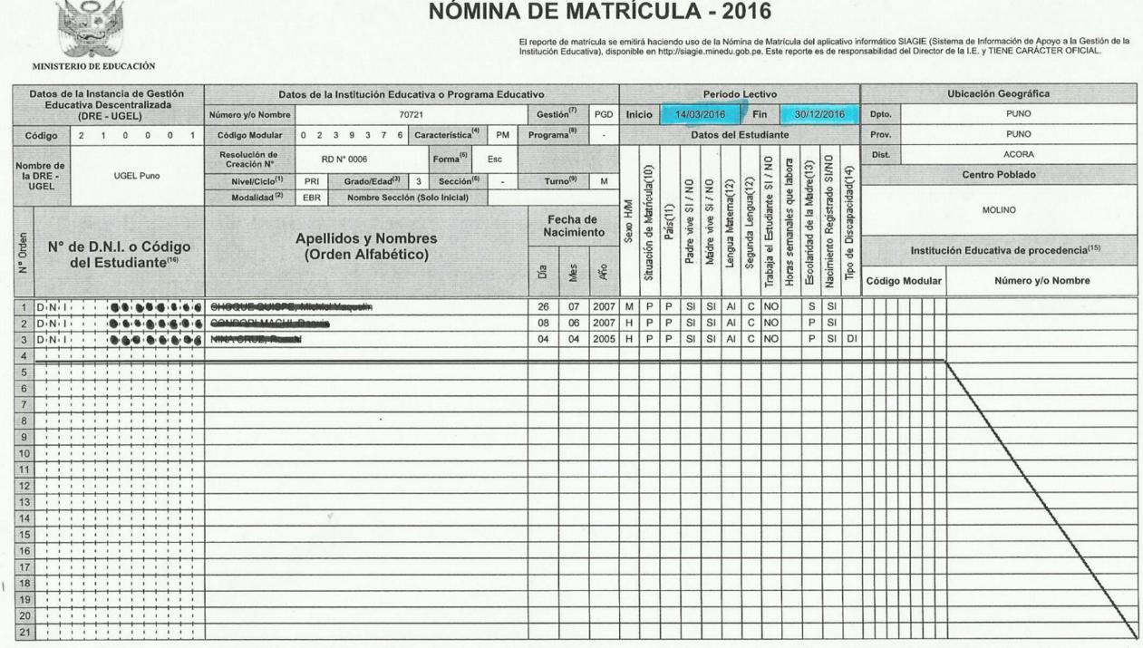 Ejemplo De Llenado De Nomina De Matricula 2016