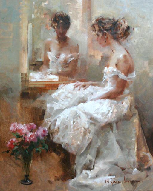 Nydia Lozano 1947 | Spanish Impressionist Figurative painter | Ladies with flowers