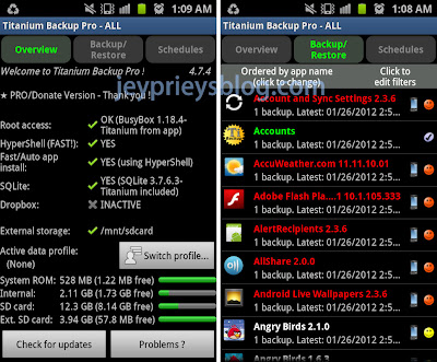 backup android using titanium