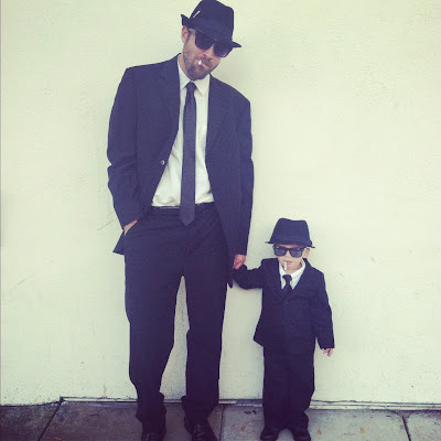father-son blues brothers halloween costume idea from oh lovely day